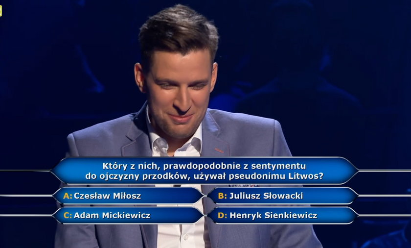 """""""Milionerzy"""" padło pytanie o Litwosa. Sienkiewicz, Mickiewicz, Miłosz czy Słowacki – który pisarz używał tego pseudonimu?"""