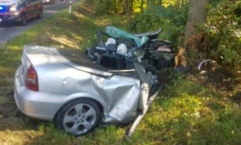 Kabriolet uderzył w drzewo i rozpadł się na pół