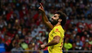 Mohamed Salah scored twice for Liverpool in a dramatic game in Madrid Creator: GABRIEL BOUYS