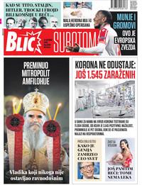 Naslovna za 31.10.2020 Blic
