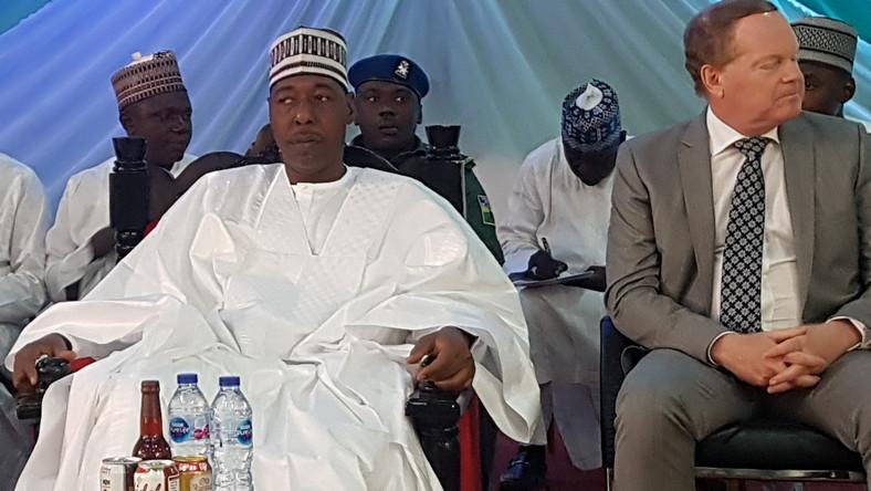 Gov. of Borno State, Babagana Umara Zulum and the EU Head of Cooperation, Kurt