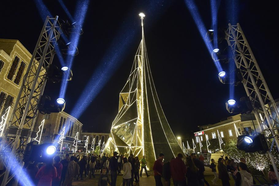 Giant Christmas tree lit in Byblos