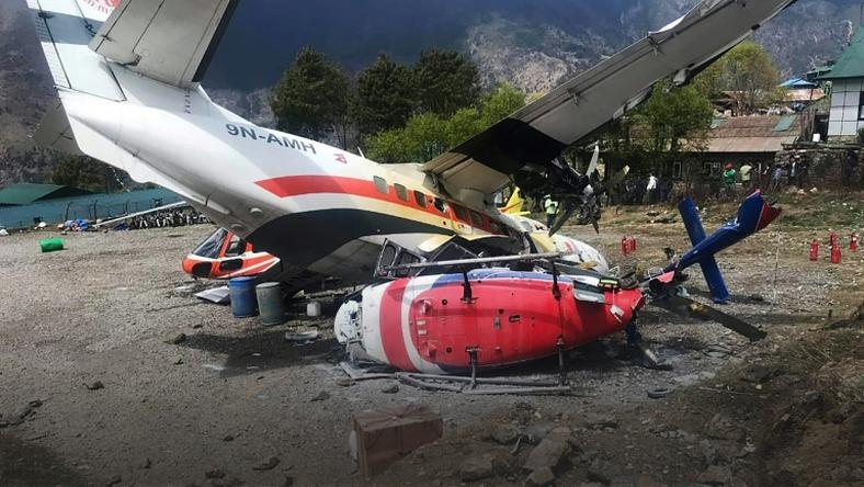 A Summit Air aircraft crashed into two helicopters while attempting take-off at Lukla airport in Nepal