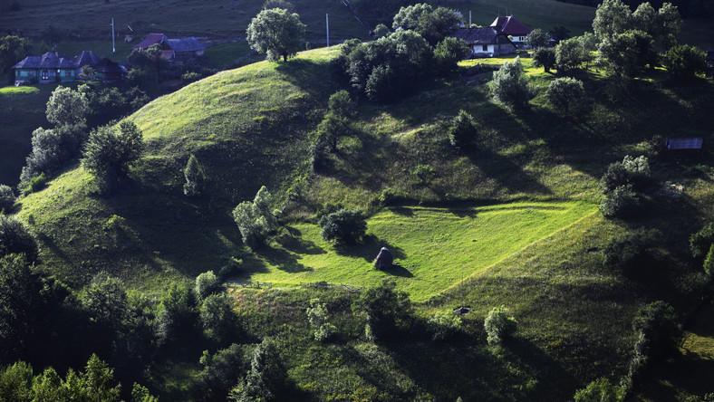 Widok na wzgórza w Magurze. Świeżo po koszeniu