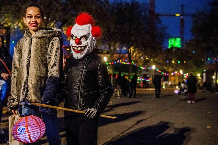 Children celebrate Halloween in Rotterdam