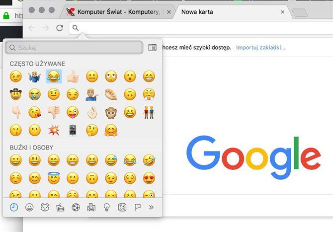 Panel emoji w Google Chrome
