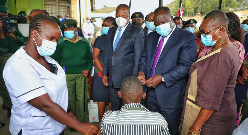 Interior CS Fred Matiang'i launches a 5-day mass Covid-19  vaccination for inmates and staff
