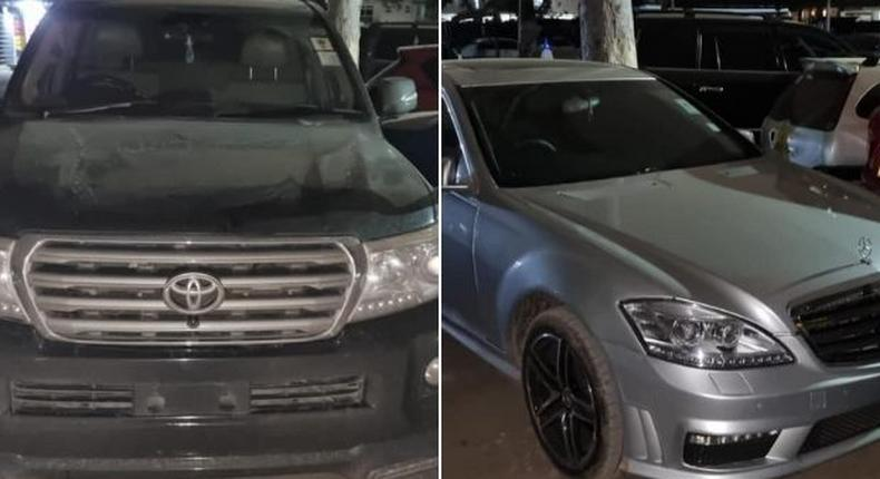 Police recover guns and security paraphanelia from city tycoon's Land Cruiser V8 and Mercedes Benz