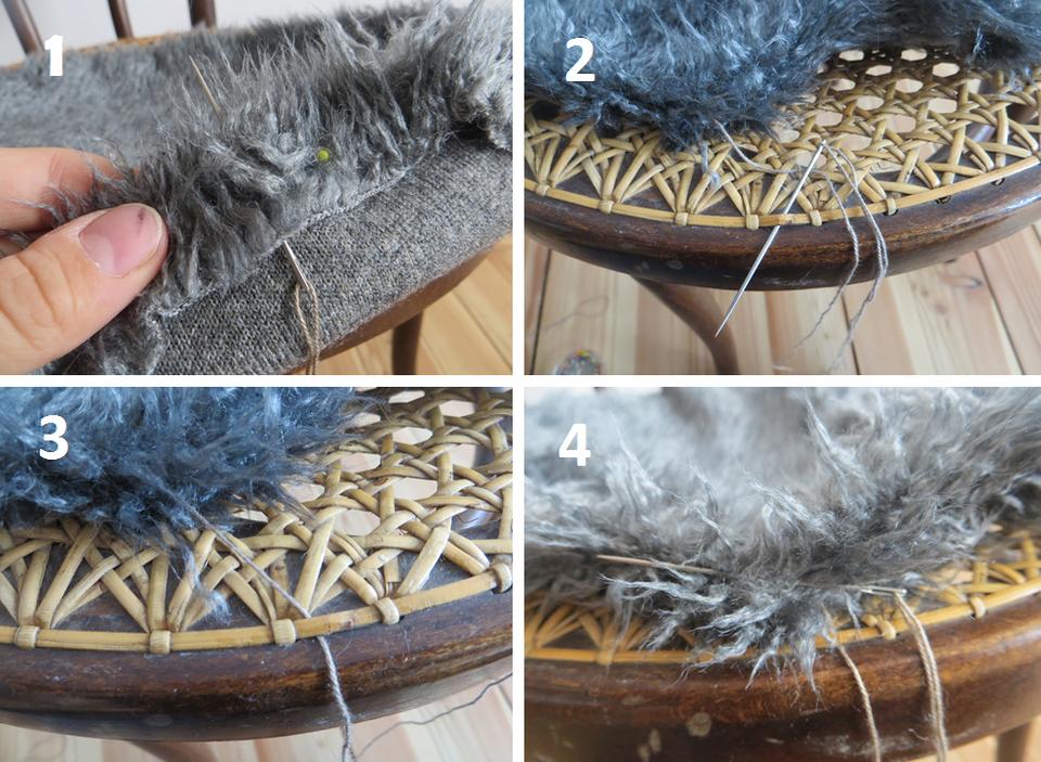 Jeśli kształty się pokrywają, możemy przystąpić do przyszywania materiału do krzesła.