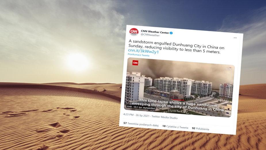 Burza piaskowa w prowincji Gansu w Chinach