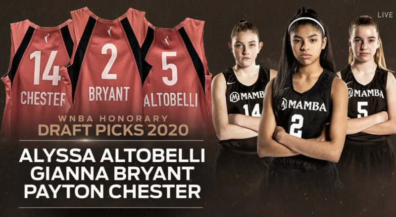 The WNBA celebrated Gianna Bryant and her teammates Alyssa Altobelli and Payton Chester with honorary draft picks