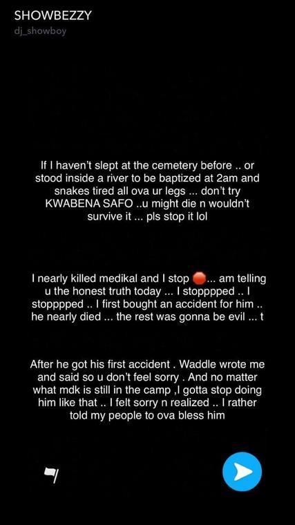 Showboy's Snapchat Post