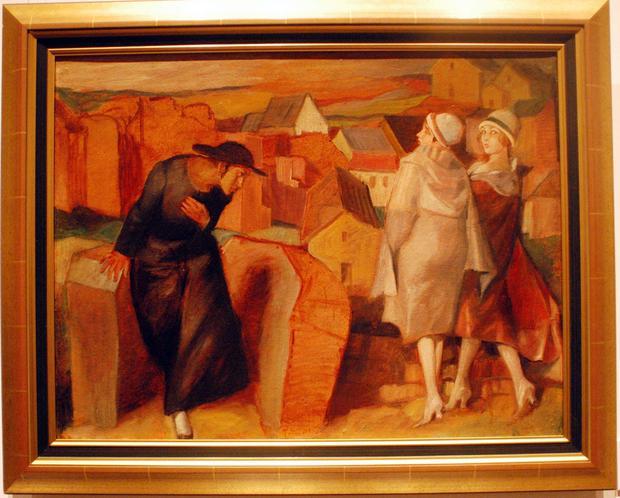 """Jedyny zachowany olejny obraz Schulza - """"Spotkanie. Młody chasyd /autoportret/ i dwie kobiety"""", 1920 r."""