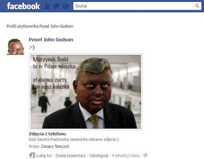 John Godson żartuje z Marka Suskiego na Facebooku