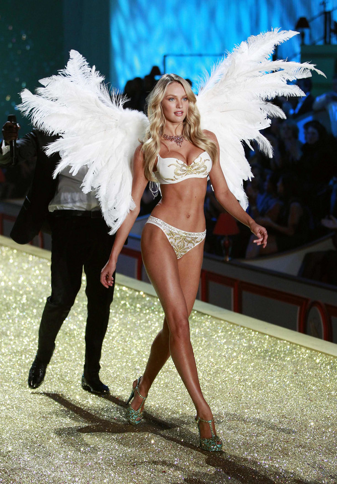 Model Candice Swanepoel presents a creation during the Victoria's Secret Fashion Show at the Lexington Armory in New York