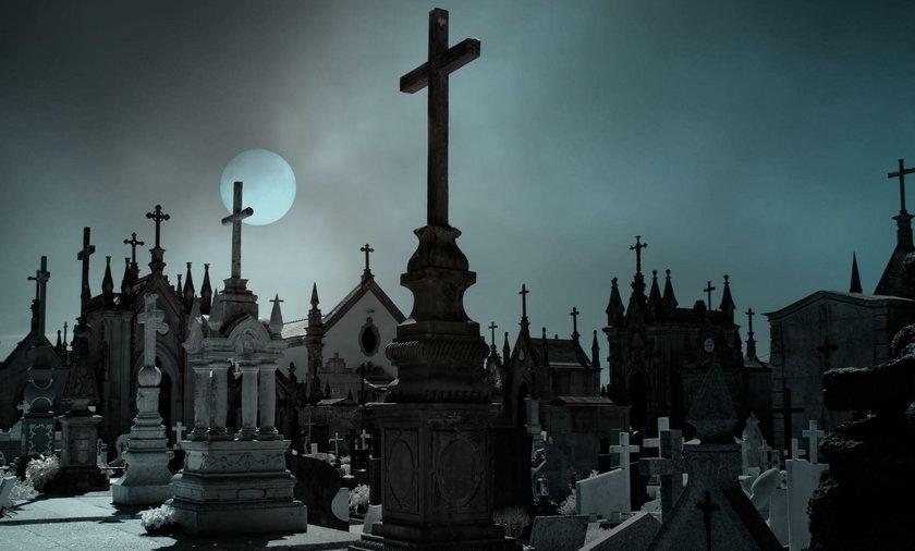 cmentarz księżyc noc ilustracja grób groby