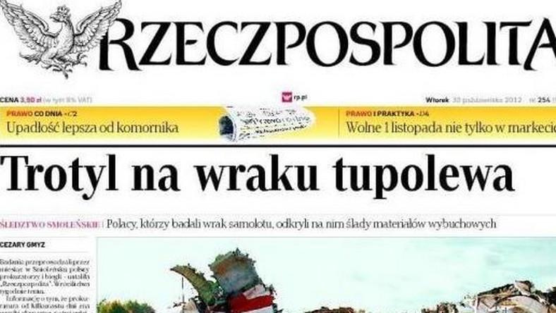 """""""Rzeczpospolita"""" pisze o śladach trotylu we wraku tupolewa"""