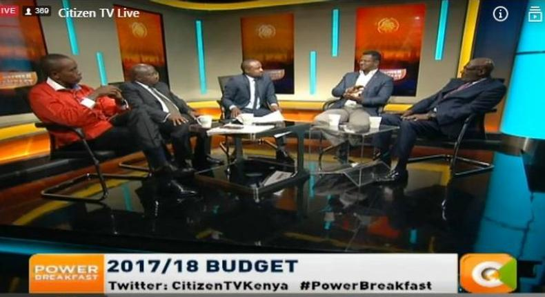 A screen-grab of lawyer Karanja Kabage appearing on Citizen TV with other panelists