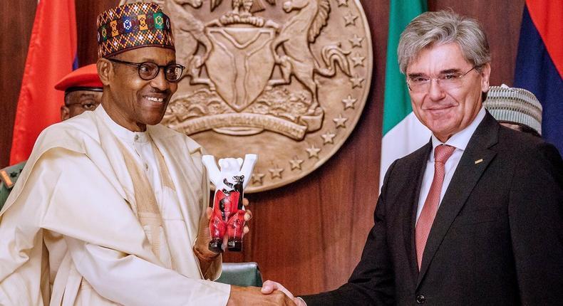 President Muhammadu Buhari and the Global CEO of the Siemens, Joe Kaeser.