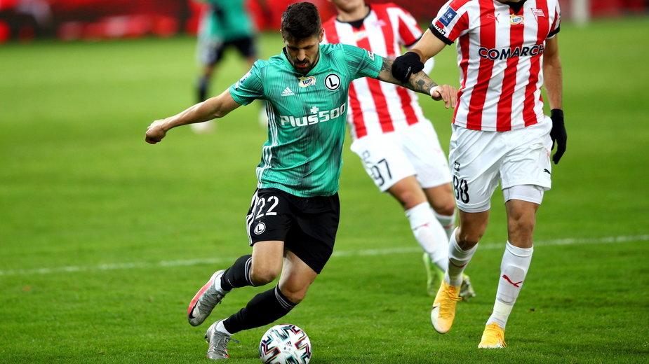 Paweł Wszołek  (Legia Warszawa) w niedzielnym meczu z Cracovią