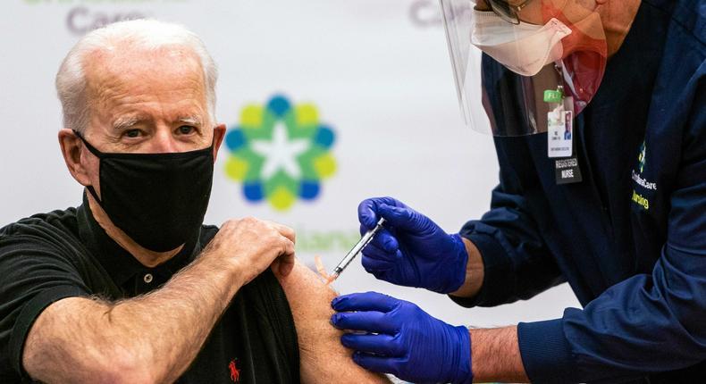 President Joe Biden gets a COVID-19 vaccine.