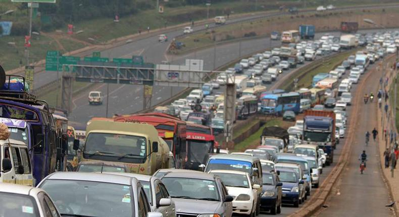 A file image of heavy outbound traffic along Thika Road