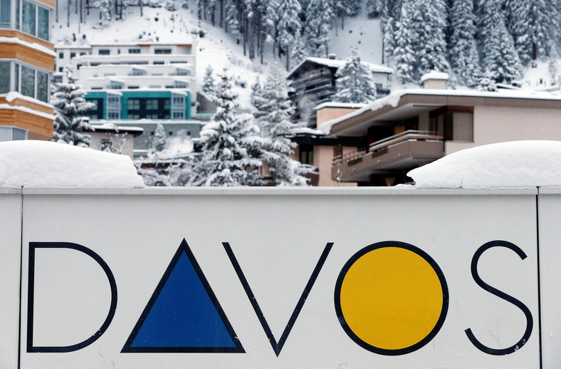 A Davos logo is seen before the annual meeting of the World Economic Forum (WEF) in Davos, Switzerland January 15, 2017.