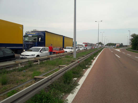 U koloni automobili, autobusi, kamioni