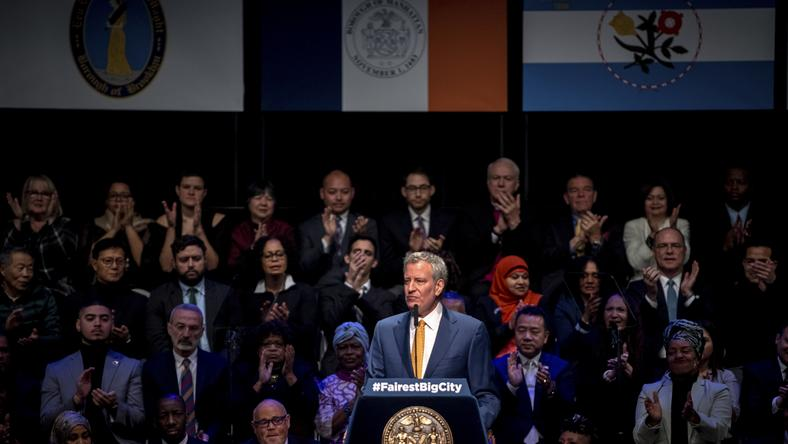 Mayor de Blasio says wealth is 'in the wrong hands,' and he pledges to redistribute it