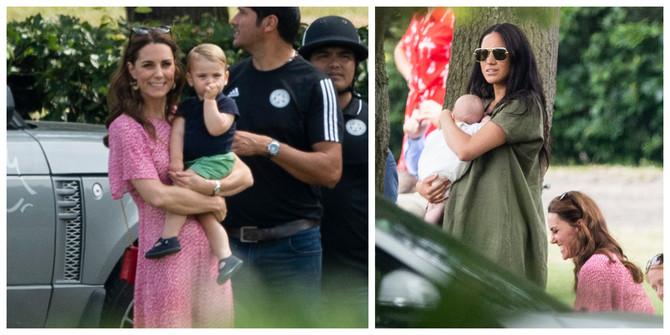 Kejt Midlton sa sinom Lujem Arturom Čarlsom i Megan Markl sa sinom Arčijem Harisonom