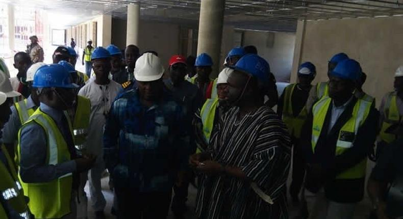 Mahama inspecting expansion works at the hospital