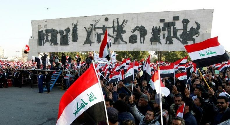 Iraqi supporters of the Sadrist movement demonstrate in Baghdad's Tahrir Square on February 11, 2017