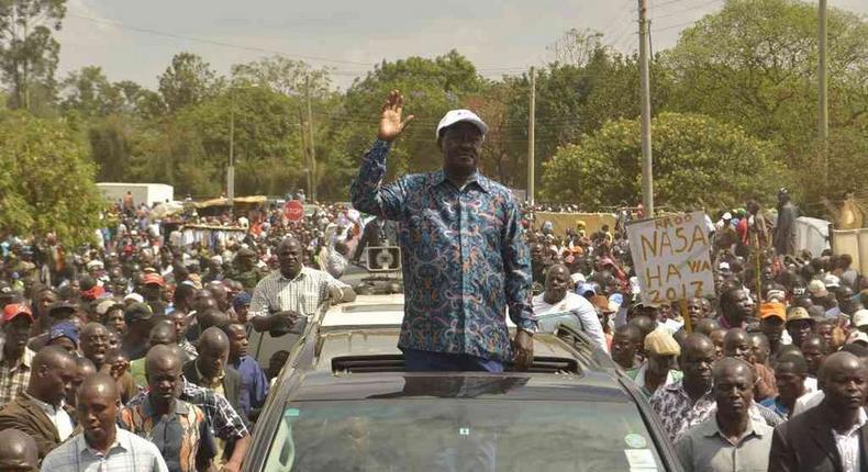 ODM leader Raila Odinga arriving at the 64 Stadium.