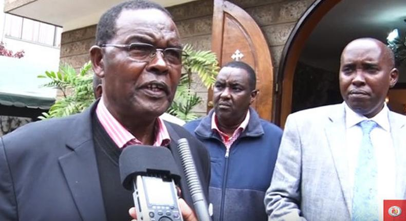 Former TLB Chairman Hassan Ole Kamwaro (left) addresses the media after the death of William Ntimama, looking on is Joseph Ole Lenku (right)