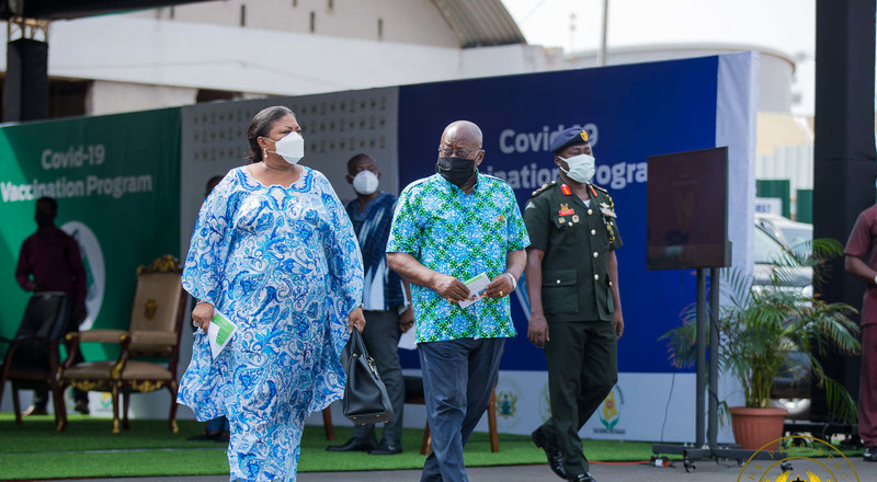 All the beautiful photos President Akufo-Addo and his wife served as they took the first injection of Covid-19 vaccines