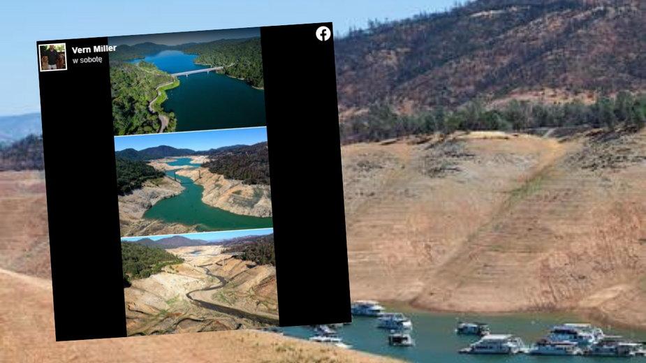 Poziom wody w kalifornijskim jeziorze znacznie się obniżył z powody suszy