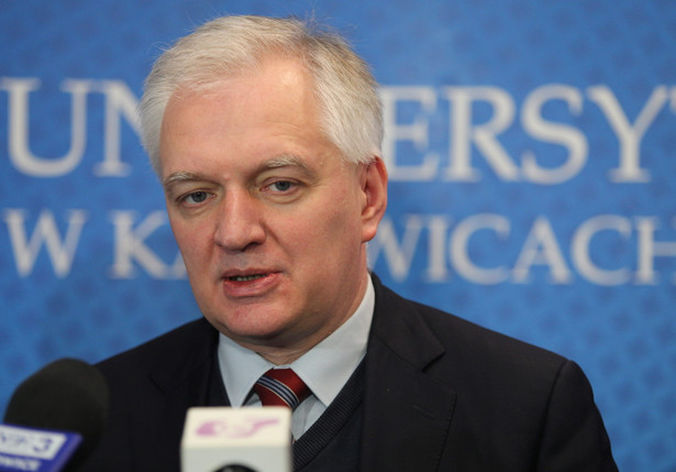 Jarosław Gowin podczas konferencji prasowej w Uniwersytecie Śląskim w Katowicach