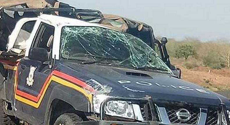 Wreckage of the police vehicle