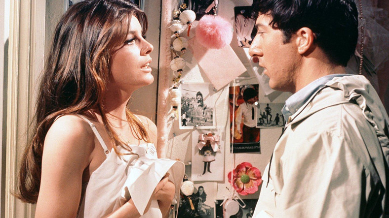 "Katharine Ross i Dustin Hoffman w filmie ""Absolwent"""