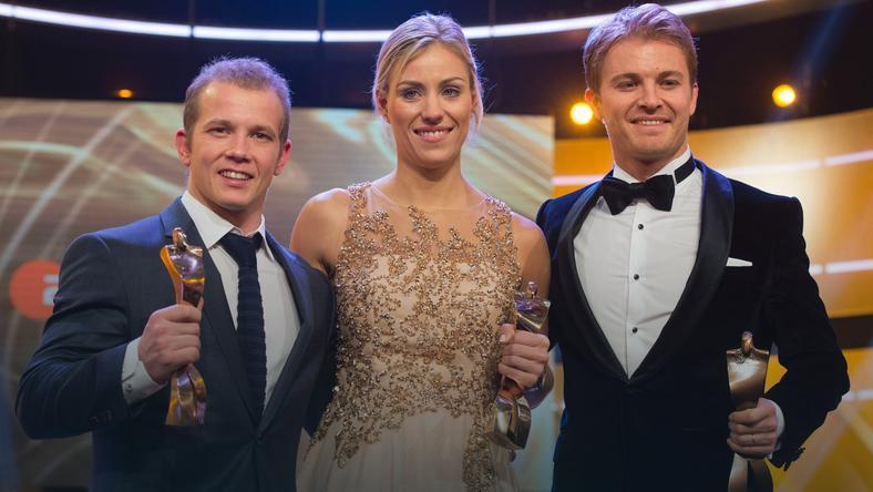 Fabian Hambuechen (z lewej), Angelique Kerber oraz Nico Rosberg