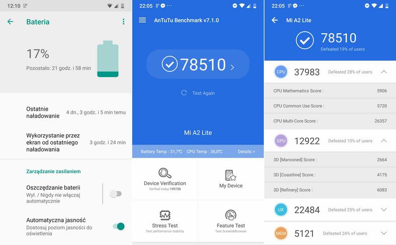 Xiaomi Mi A2 Lite - AnTuTu Benchmark, czas pracy na baterii