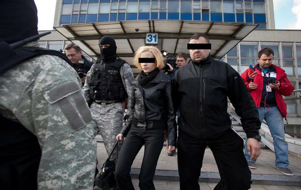 Katarzyna W. wychodzi z katowickiej prokuratury.
