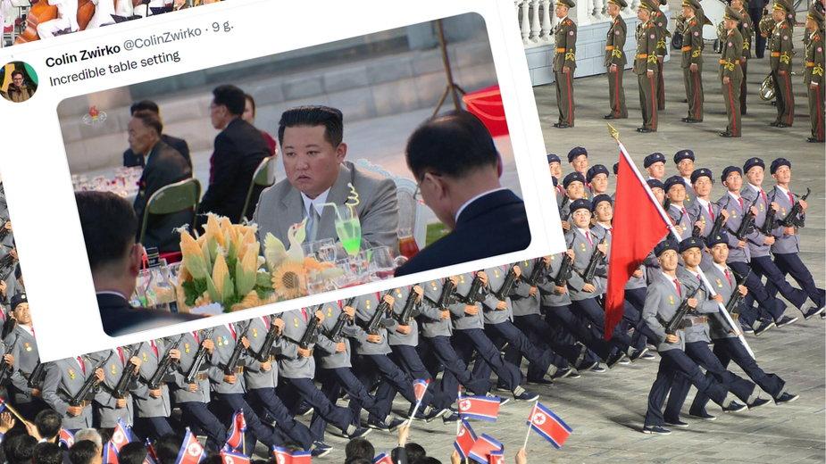 Kim Dzong Un na bankiecie nie tryskał energią (fot. Twitter.com/@ColinZwirko)