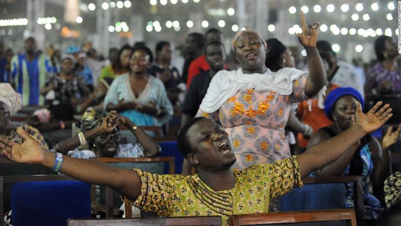 Church members pray