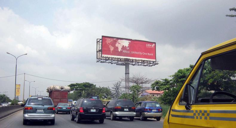 An outdoor advertisement displaying UBA in Lagos (Invent Media)