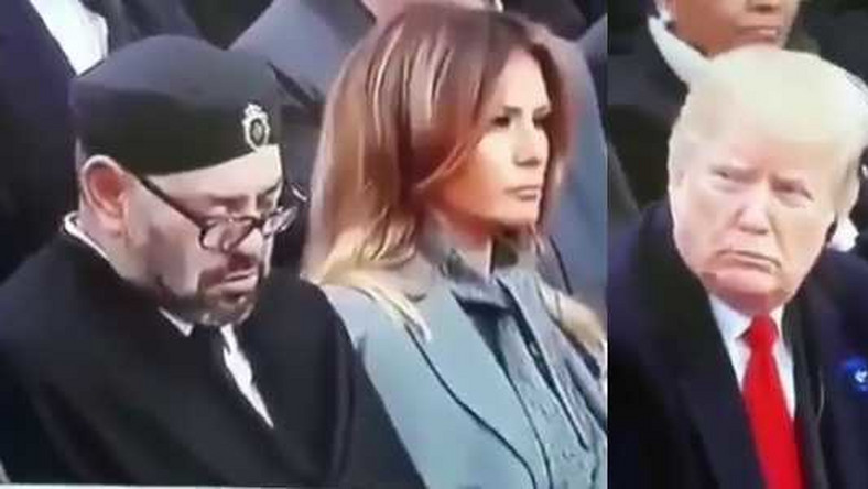 King of Morocco sleeps at world event, Trumps watches him scornfully