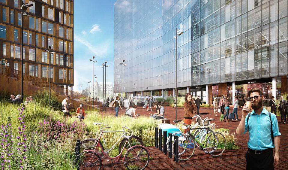 Między budynkami Bramy Łodzi przewidziano otwarte przestrzenie, wypełnione miejską zielenią, dostępne dla pracowników i mieszkańców. Ma tam też powstać parking dla 200 rowerów.