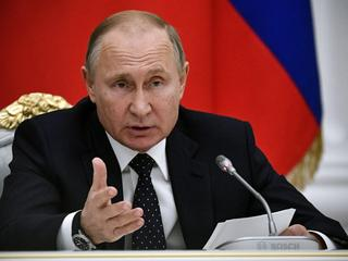 Russia's President Putin attends a meeting with businessmen in Moscow