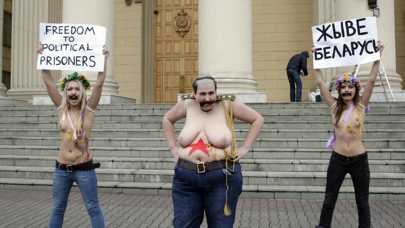 Wczorajszy protest Ukrainek z Femen, fot. PAP/EPA