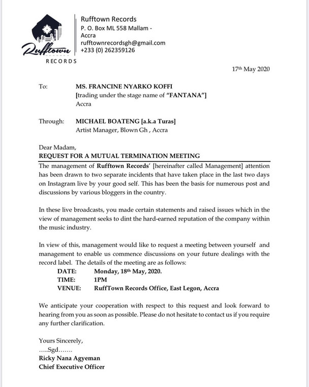 Rufftown Records' letter to Fantana